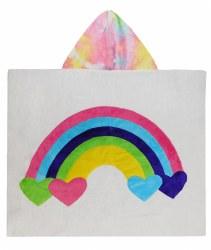 N L - Big Hooded Towel - Rainbow Bright