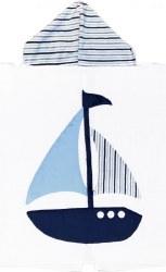 N L - Big Hooded Towel - Sail Away Navy/Stripes