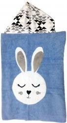 N L - Big Hooded Towel - Snuggle Blue Bunny