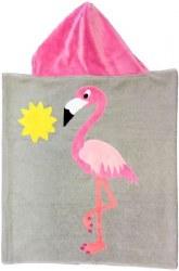 N L - Big Hooded Towel - Sunbird Flamingo Pink