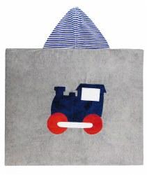 N L - Big Hooded Towel - Train Navy/Red
