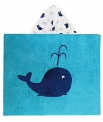 N L - Big Hooded Towel - Whale Aqua/Navy