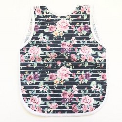 Bapronbaby - Toddler Bapron Waterproof Bib - Retro Stripe Rose Floral