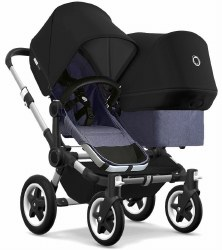 Bugaboo - Donkey2 Duo Configuration Stroller - Aluminum - Blue Melange - Black - Black