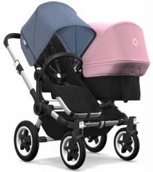 Bugaboo - Donkey2 Duo Configuration Stroller - Aluminum - Black - Blue Melange - Soft Pink