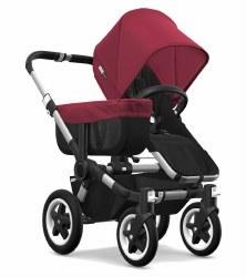 Bugaboo - Donkey2 Mono Configuration Stroller - Aluminum - Black - Ruby Red