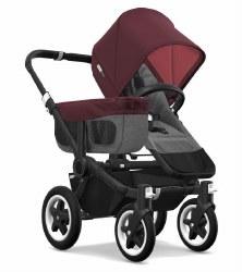 Bugaboo - Donkey2 Mono Configuration Stroller - Black - Grey Melange - Red Melange