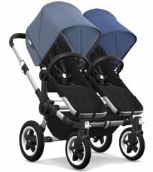 Bugaboo - Donkey2 Twin Configuration Stroller - Aluminum - Black - Blue Melange - Sky Blue