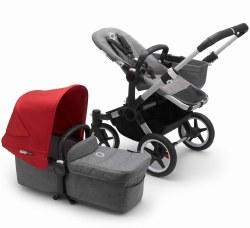Bugaboo - Donkey3 Mono Complete Stroller - Aluminum - Grey Melange - Red *Pre-Order For August 2020*