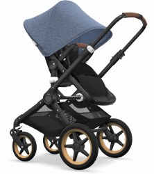 Bugaboo - Fox Complete Stroller - Black/Black Fabric/Blue Melange Canopy/Cognac Grips/Wood Wheel Caps * Floor Sample*