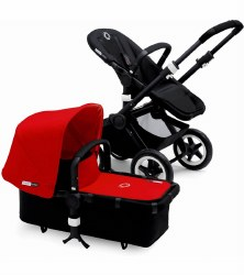 Bugaboo - Buffalo Stroller - Frame Black - Red Canopy