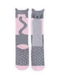 N L - Socks - Cat Grey/Pink 12-24M