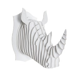 Cardboard Safari - Cardboard Animal - Rhino L White