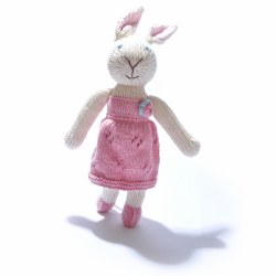Knitted World - Knitted Dolls - Rabbit in Pink Textured Dress