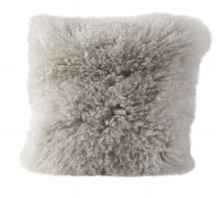 "N L - 16"" Mongolian Lamb Fur Cushion - Grey"