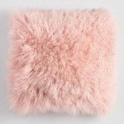 "N L - 16"" Mongolian Lamb Fur Cushion - Pink"