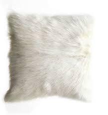 "N L - 16"" Mongolian Lamb Fur Cushion - White"