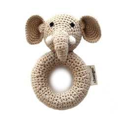 Cheengoo - Crochet Ring Rattle - Elephant