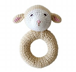 Cheengoo - Crochet Ring Rattle - Lamb