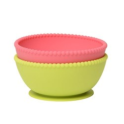 Chewbeads - Silicone Suction Bowls Set - Chartreuse/Pink