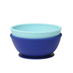 Chewbeads - Silicone Suction Bowls Set - Turquoise/Cobalt