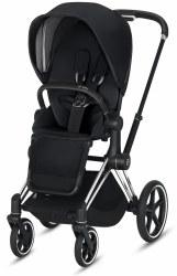 Cybex -  e-Priam Complete Stroller Chrome/Black - Premium Black Seat