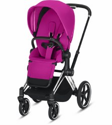 Cybex -  2019/2020 Priam 3 Complete Stroller Chrome Black - Fancy Pink
