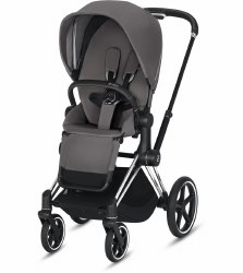 Cybex -  2019 Priam 3 Complete Stroller Chrome Black - Manhattan Grey