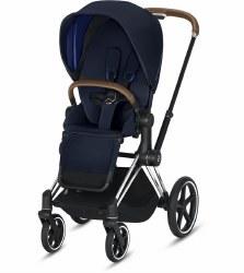 Cybex -  2019 Priam 3 Complete Stroller Chrome Brown - Indigo Blue