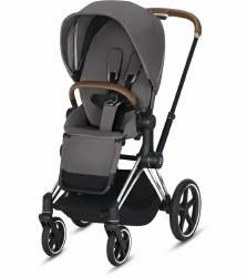 Cybex -  2019 Priam 3 Complete Stroller Chrome Brown - Manhattan Grey