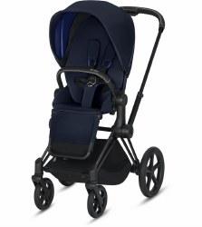 Cybex -  2019 Priam 3 Complete Stroller Matte Black - Indigo Blue