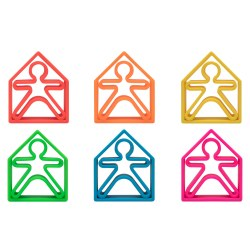 Dena Toys - Silicone Kids & Houses 6 Pack Neon