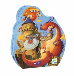 Djeco - Silhouette Puzzle Vaillant & The Dragon