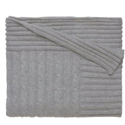 Elegant baby -  Knit Blanket - Gray Cable