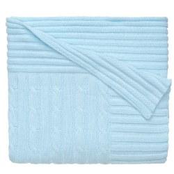 Elegant baby -  Knit Blanket - Pastel Blue