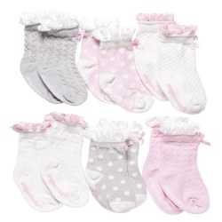 Elegant Baby -  6-Pack Socks - Peek a Boo Girl
