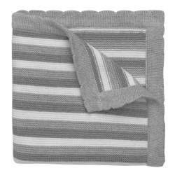 Elegant Baby -  Knit Blanket Striped - Grey/White