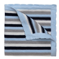 Elegant Baby -  Knit Blanket Striped - Navy/White