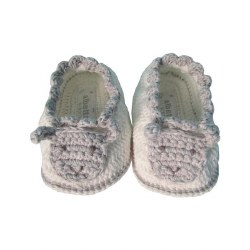 Albetta - Crochete Booties - Sheep White/Grey