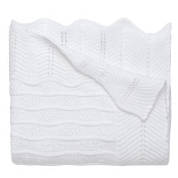 Elegant Baby - Knit Blanket - Fancy White