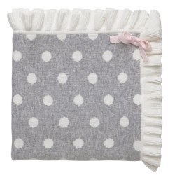 Elegant Baby -  Knit Blanket - Gray/Cream Polka Dot Ruffle