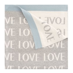Elegant Baby -  Pattern Blanket - Love Grey/Blue