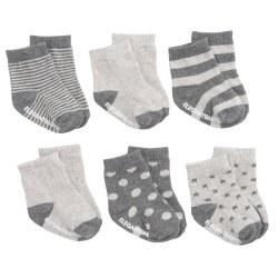 Elegant Baby -  6 Pack Socks - Grey On Grey