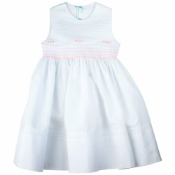 N L - Infant Sleeveles Dress with Lace White