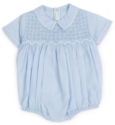 N L - Diamond Smock Romper - Blue 3M