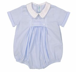 N L - Chevron Smocked Romper - Blue 3M