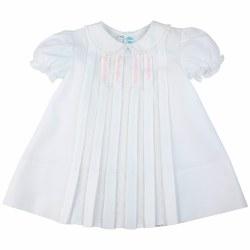 N L - Newborn Midi Dress - White/Pink 9M