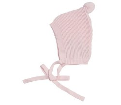 N L - Knit Bonnet with Pompom -  Pink NB