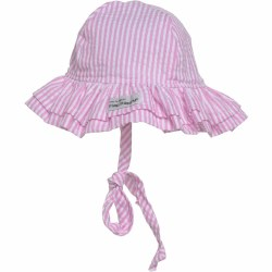 Flap Happy - UPF 50+ Double Ruffle Hat - Pink Stripes X-Small