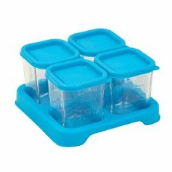 Green Sprouts -  Glass 4oz Cubes Aqua